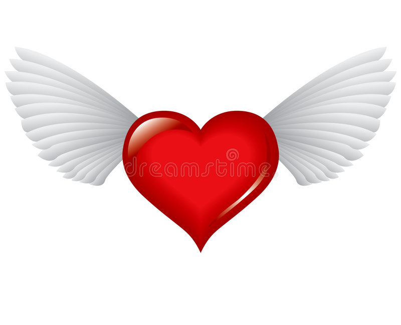 Winged red heart royalty free illustration