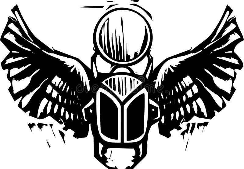 Download Winged Scarab stock vector. Image of scarab, beetle, woodcut - 31884407