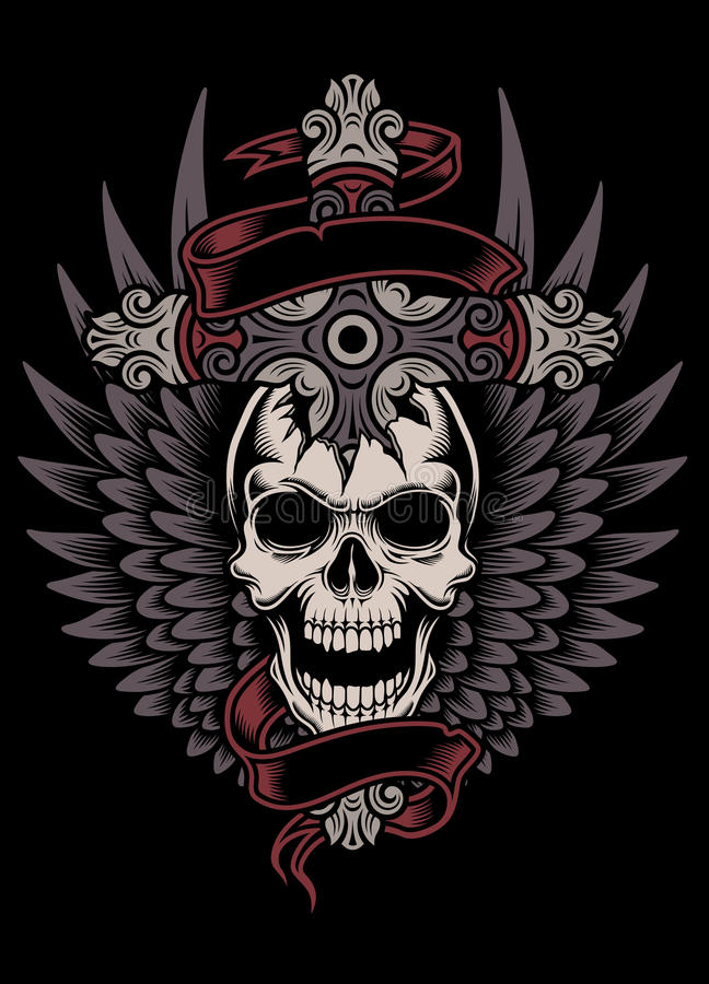 Winged Skull With Cross stock illustration