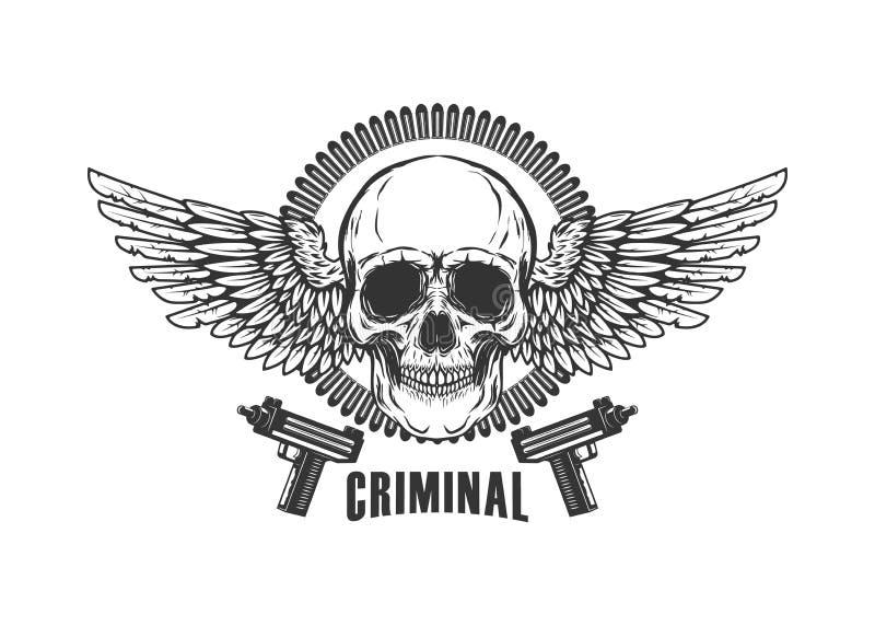 Winged skull with handguns. Design element for logo, label, emblem, sign, t shirt. Vector illustration stock illustration