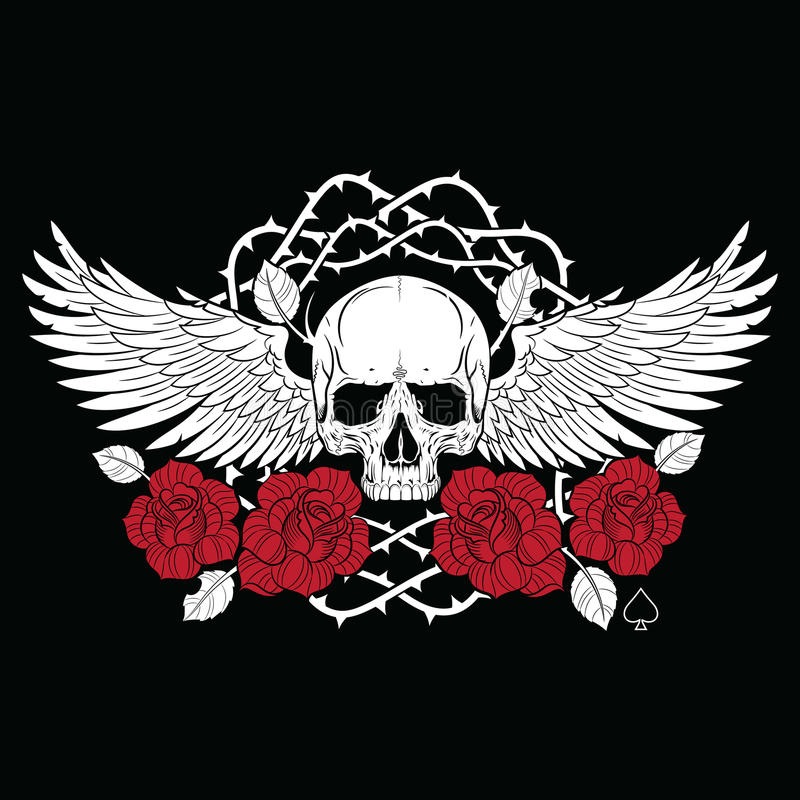 Winged skull and roses royalty free illustration