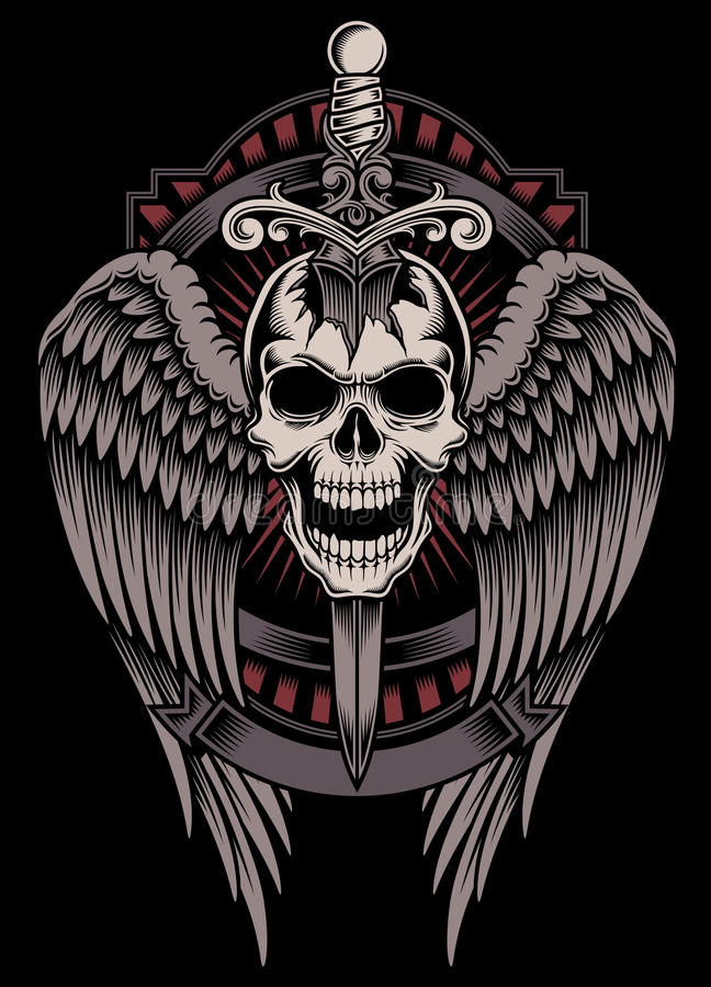Winged Skull With Sword Stuck vector illustration