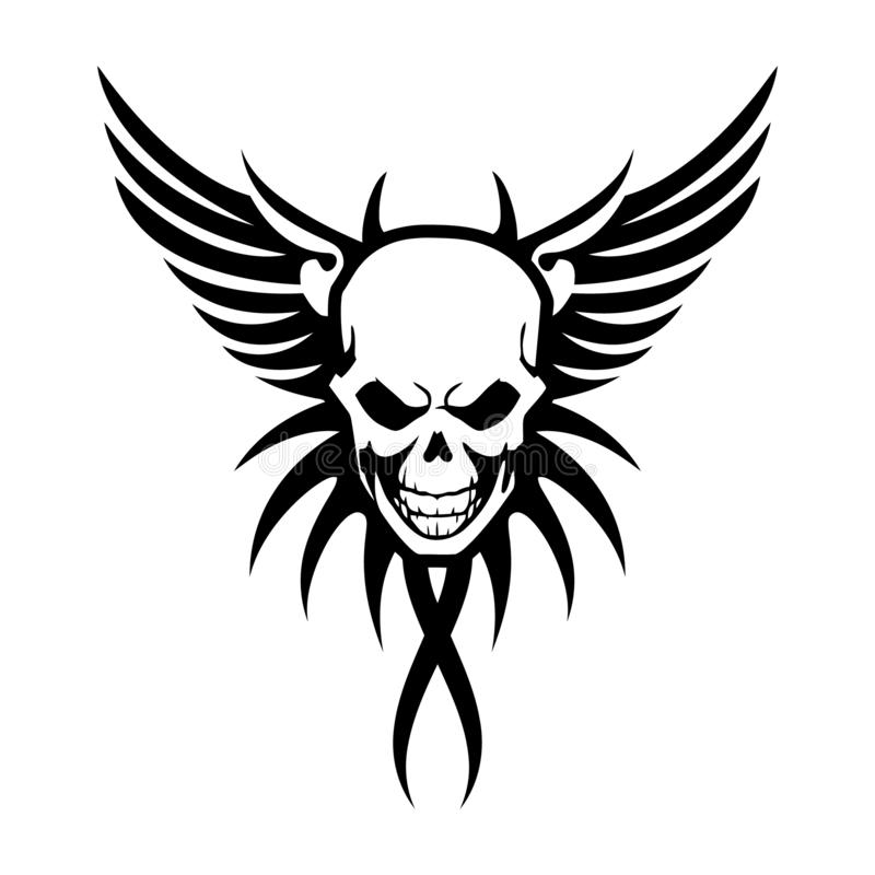 Winged skull symbol - black & white vector tattoo illustration stock illustration