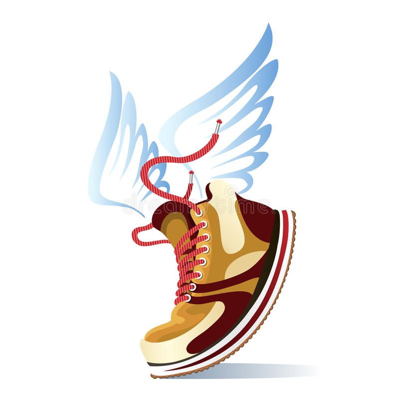Winged sports shoe icon vector illustration