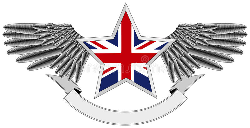 Download Winged star with UK Flag stock illustration. Image of kingdom - 15162693