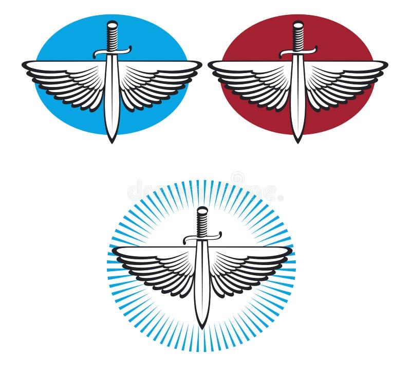 winged sword stock vector image of logo knight heraldry