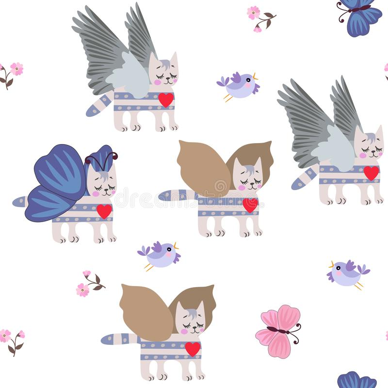 Winged tabby kitty, funny birds, little flowers, blue and pink butterflies on white background seamless pattern for children vector illustration
