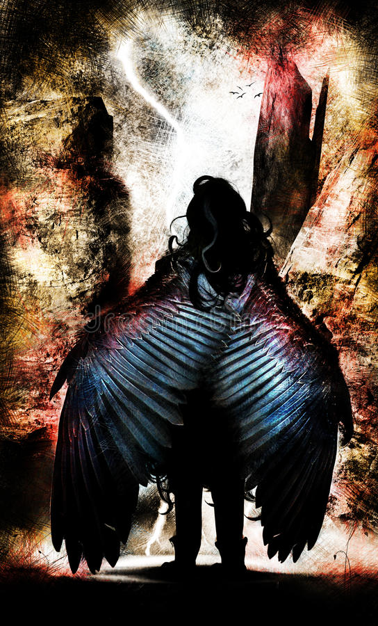 Winged Angel Warrior vector illustration