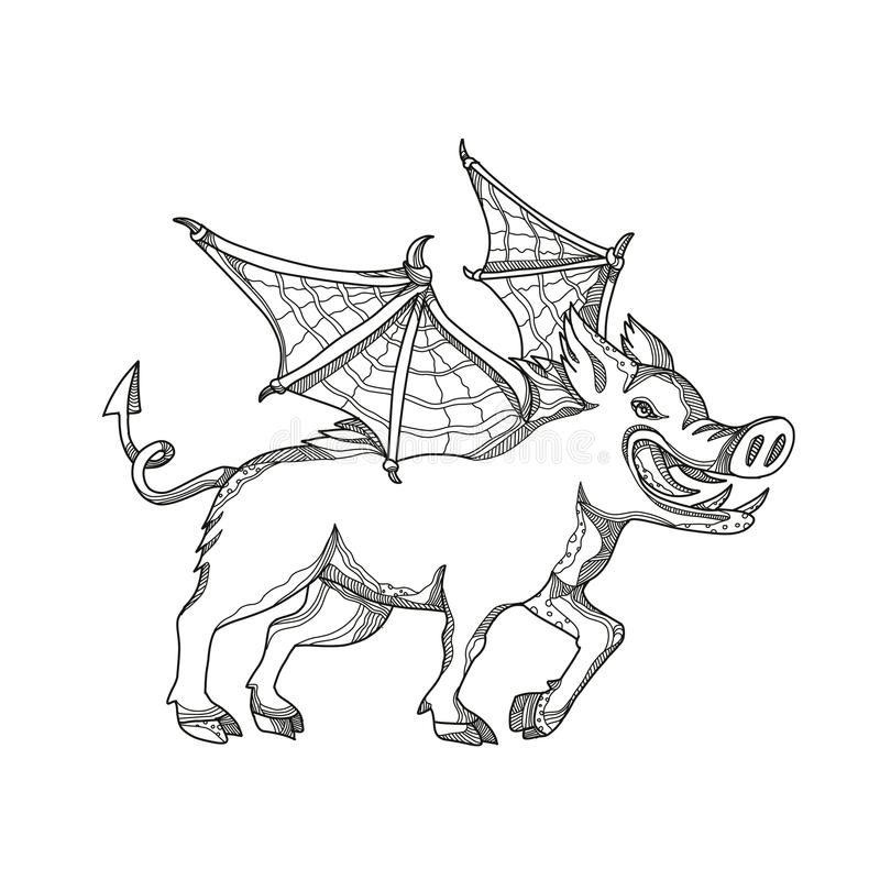 Winged Wild Boar Doodle Art stock illustration