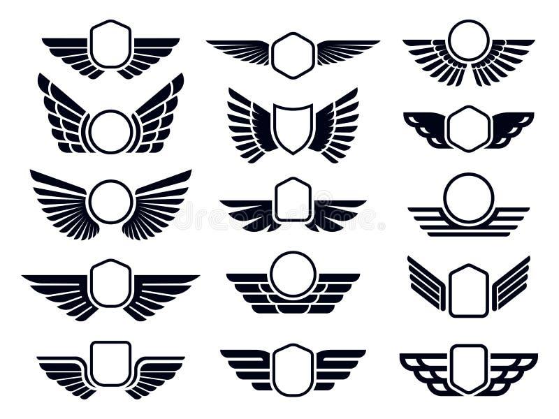 Wingende frames Het embleem van het schild van de vliegende vogels, het badge van de vleugels van de adelaar en het retroAviation vector illustratie