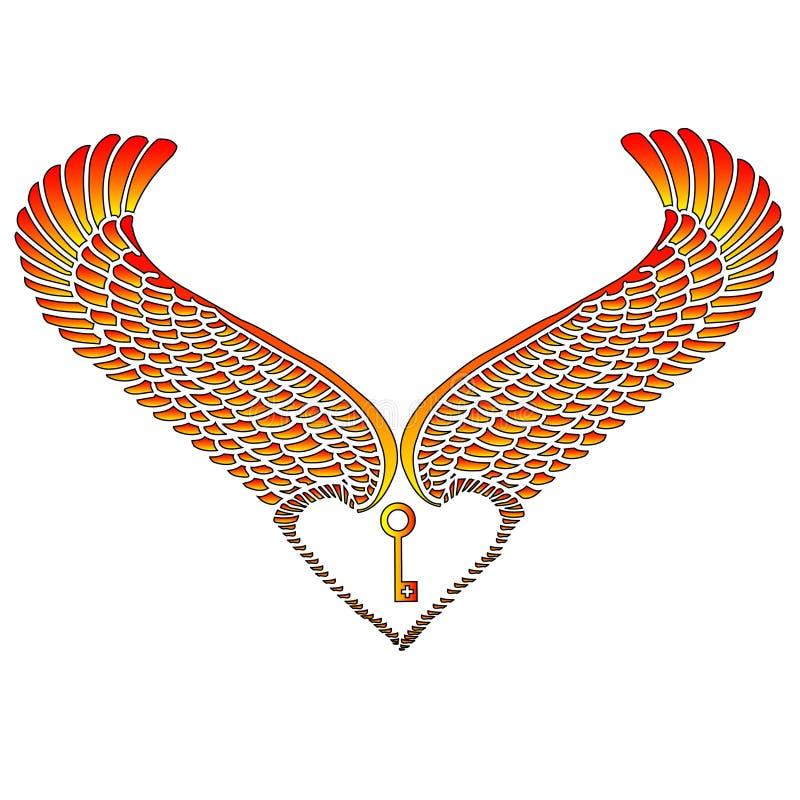 Download Wingheart and Key stock illustration. Image of flirt, valentine - 1700773
