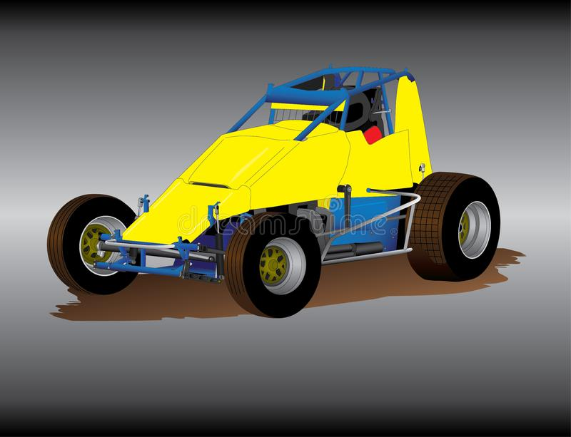 Wingless Sprint Car. Vector image of an Australian based V6 wingless sprint car as raced on dirt oval track speedway royalty free illustration