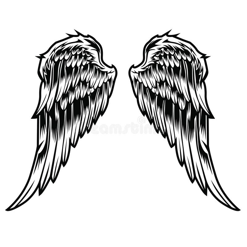 Free Wings Bird Feather Black & White Tattoo Vector Stock Photo - 188951240
