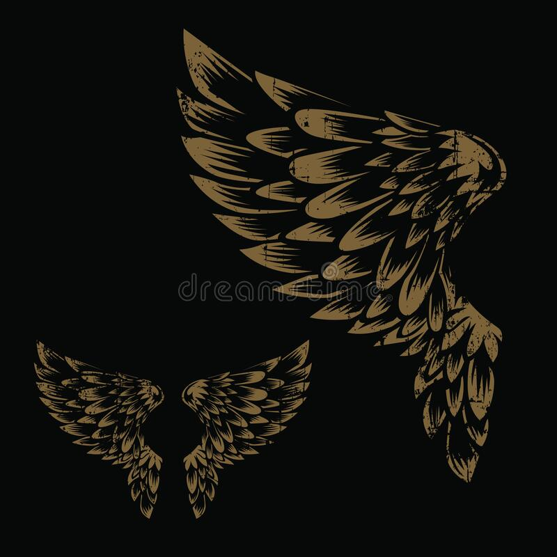 Free Wings Bird Feather Gold Vintage On Black Background Vector Stock Photo - 188951230