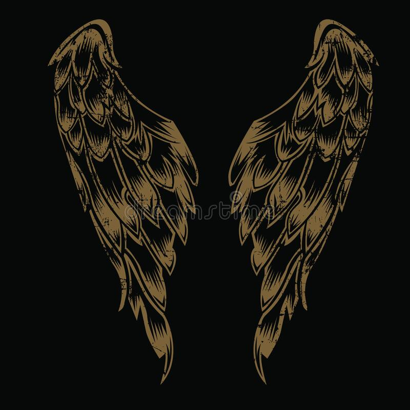 Free Wings Bird Feather Gold Vintage On Black Background Vector Royalty Free Stock Images - 188951309