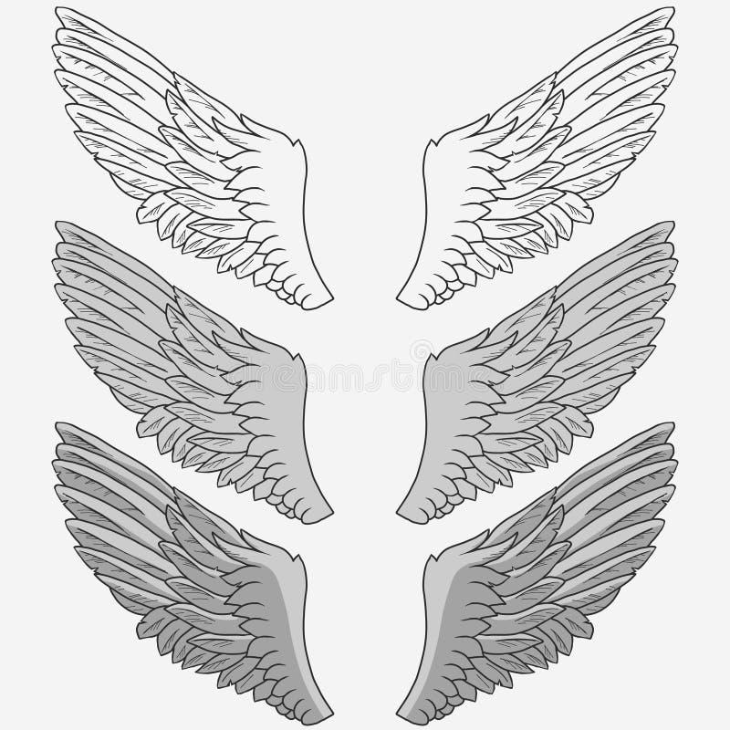 Wings of bird set royalty free illustration