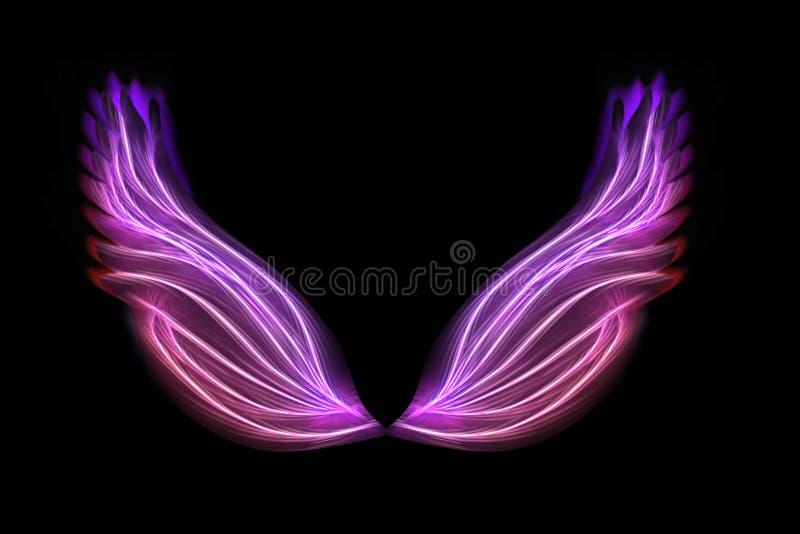 Wings on black stock illustration