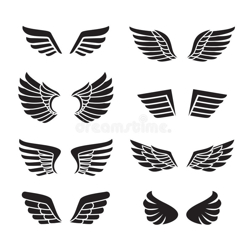 Wings black icons vector set (silhouettes). Minimalistic design. Wings black icons vector set (silhouettes). Modern minimalistic design stock illustration