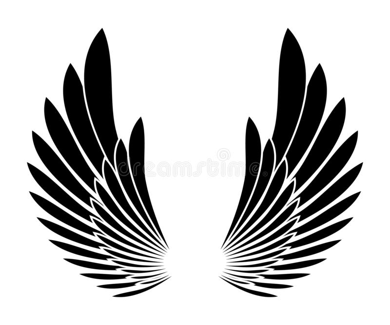 Wings black silhouette tattoo templete design element vector illustration