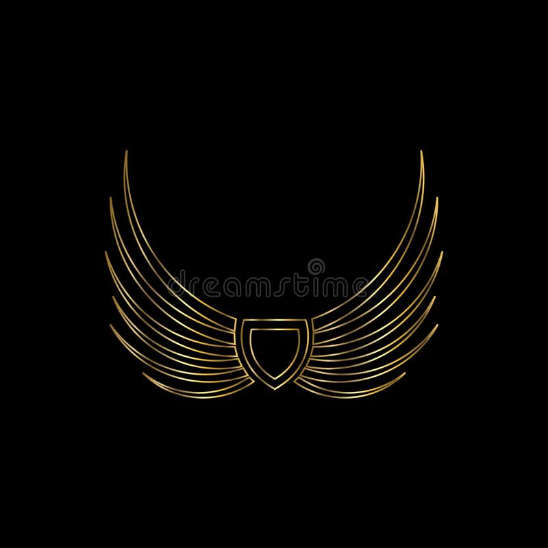 Set Of Monochrome Labels With Luxury Design: Wings With Wheel Vector Logo . Wing Icon Vector Set Stock