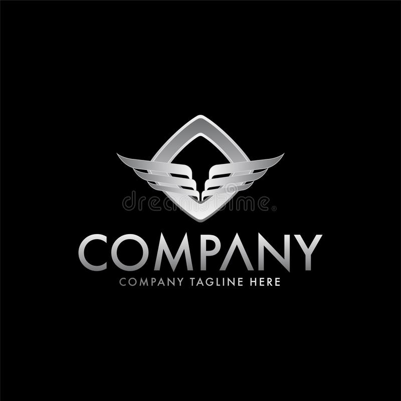 Wings and double heat eagle logo design template vector illustration