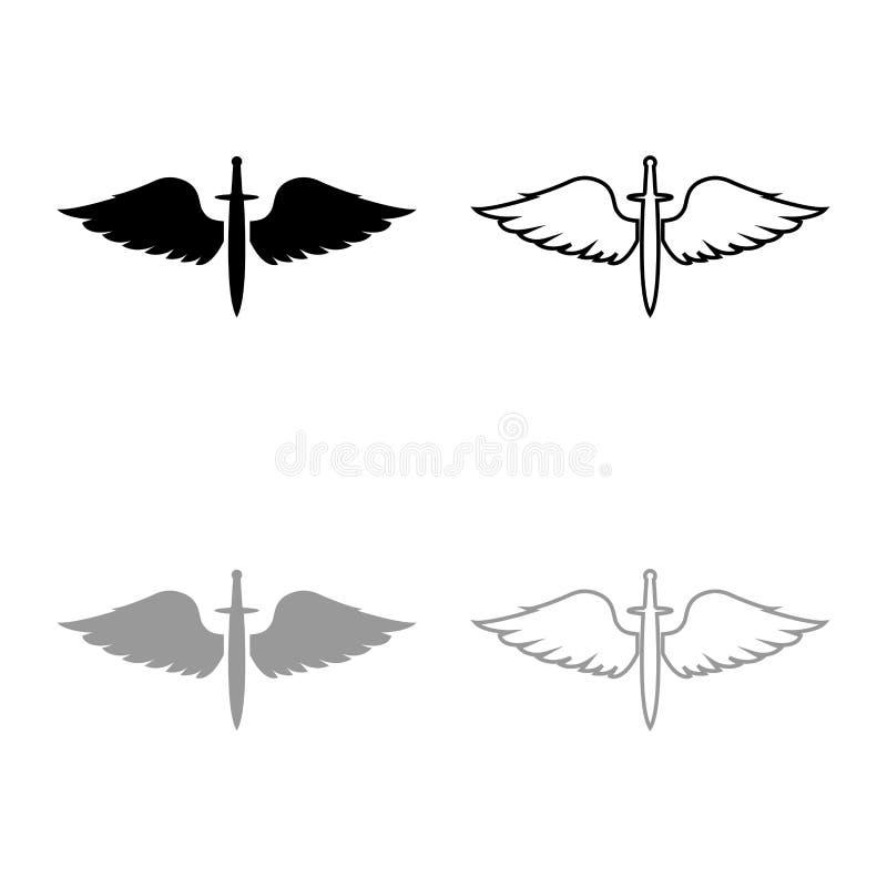 Wings- en zwaard-symboolkadets Wingel-bladewapen middeleeuwse leeftijd Warrior insignia Blazon-hoogtepuntpictogram zwart omlijnd vector illustratie