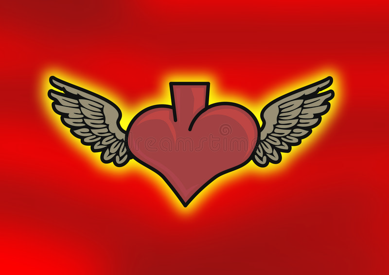 Wings on heart royalty free stock photos