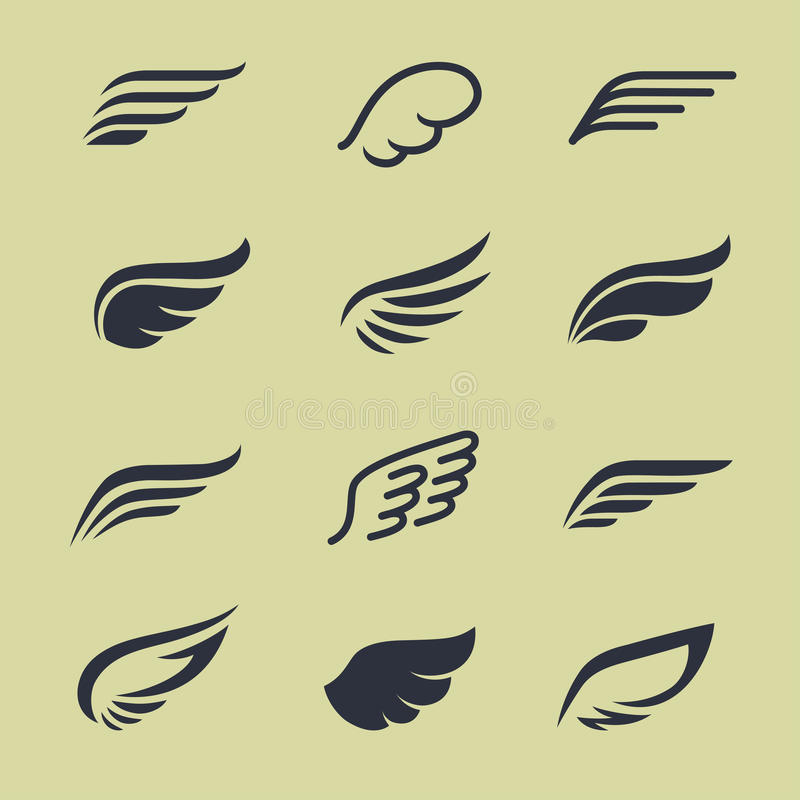 Wings. Icon set in vector