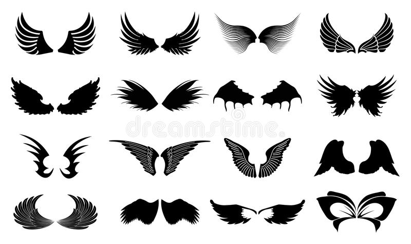 Wings Icons. Set of wings icons in black