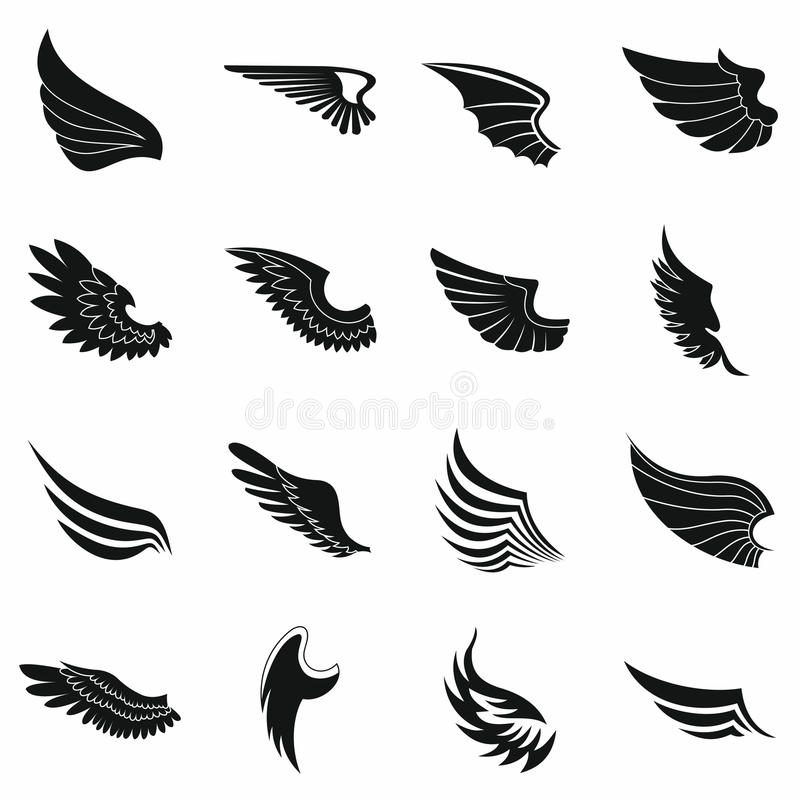 Download Wings Icons Set Black Simple Style Stock Vector