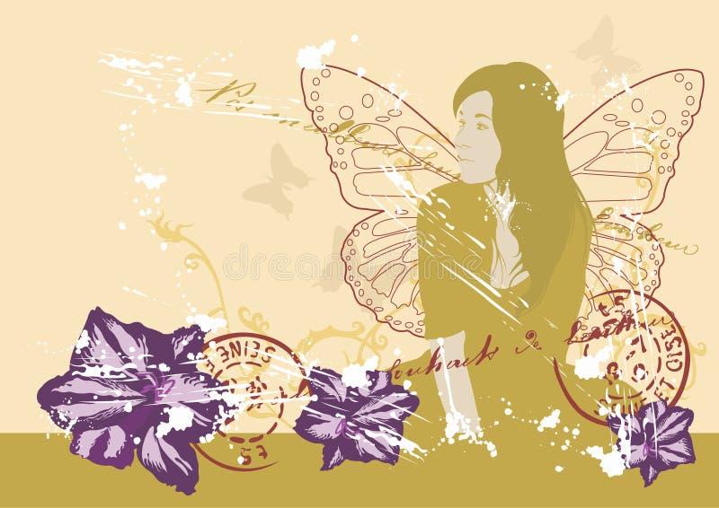 wings kvinnan royaltyfri illustrationer