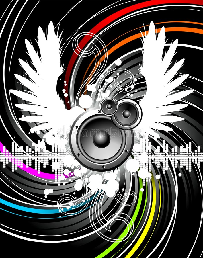 Wings of music. Illustration for a musical theme with speakers and wings stock illustration