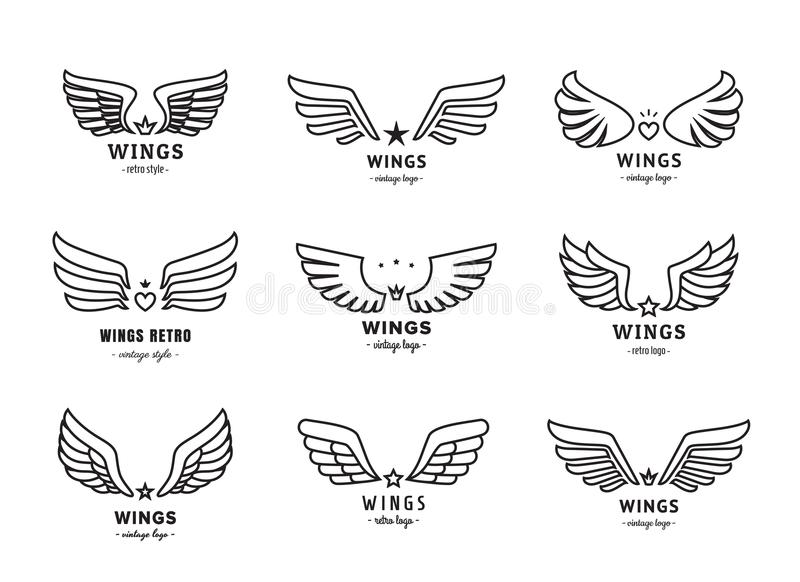 Wings Outline Black Logo Vector Set Part Two Stock Vector