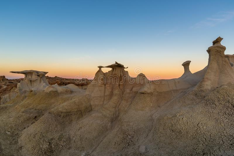 The Wings rock formation, Bisti/De-Na-Zin Wilderness Area, New Mexico, USA. The Wings rock formation at sunrise, Bisti/De-Na-Zin Wilderness Area, New Mexico, USA royalty free stock images
