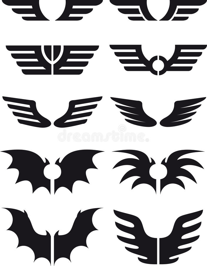 Wings set 02 vector illustration
