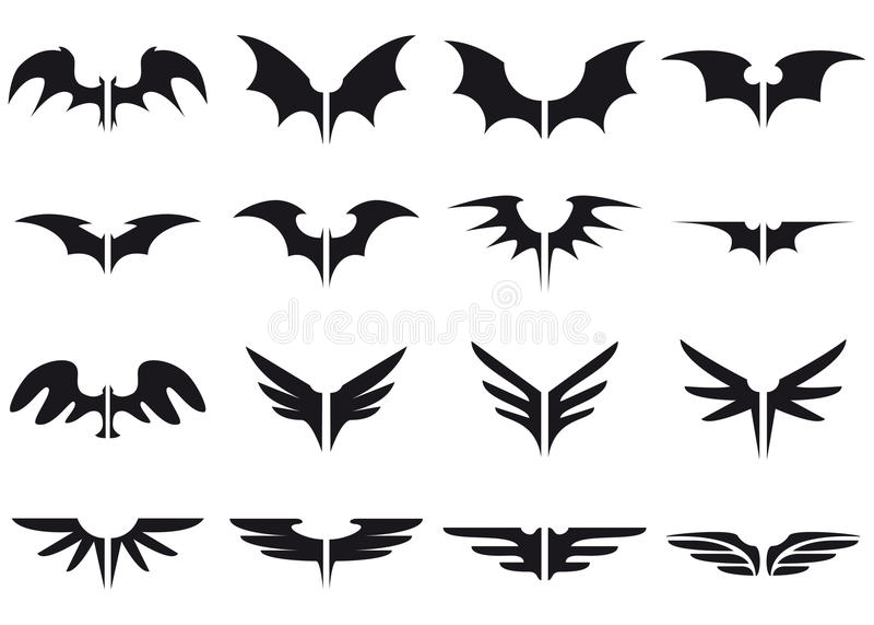 Download Wings set stock vector. Illustration of dark, christmas - 10743275
