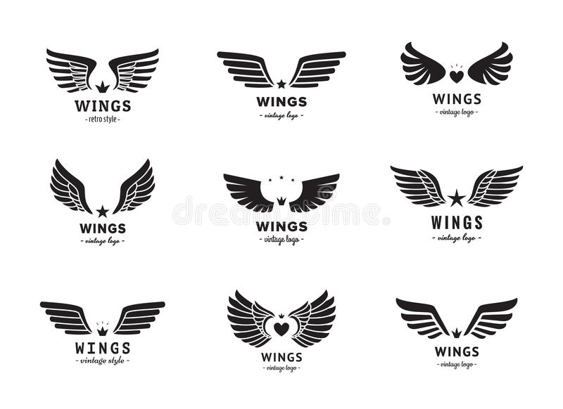Wings silhouette logo vector set. Vintage design. Part two. stock photography