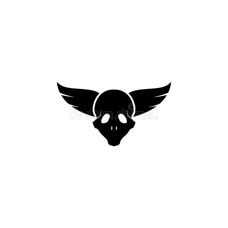 wings and skull icon. Element of tattoo icon for mobile concept and web apps. Glyph style wings and skull icon can be used for web vector illustration