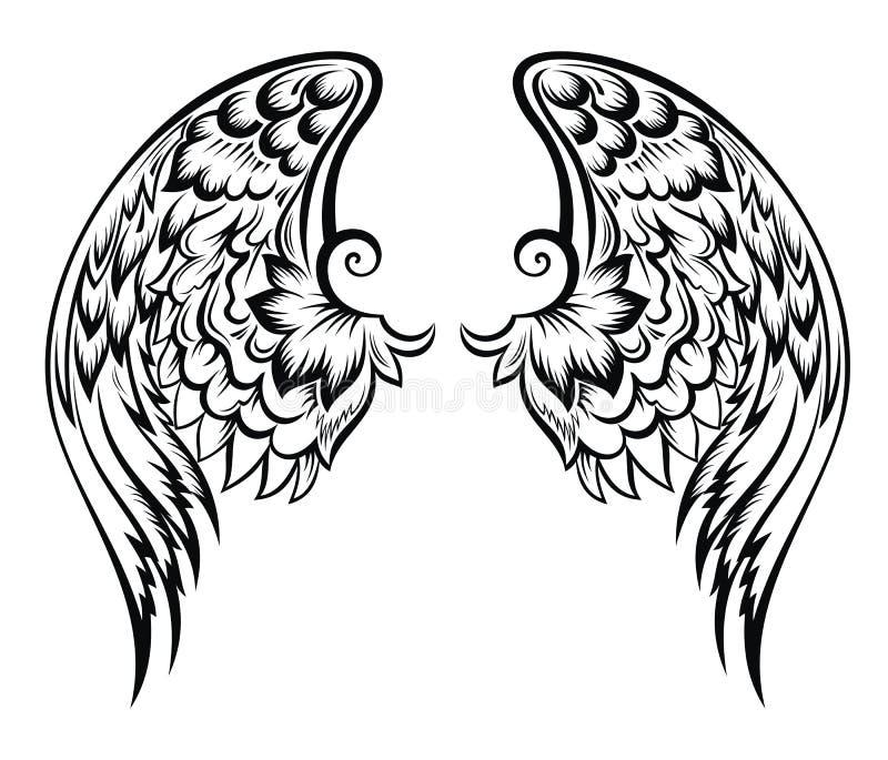 Wings.Tatoo design. Hand drawn vector wings tattoo design stock illustration