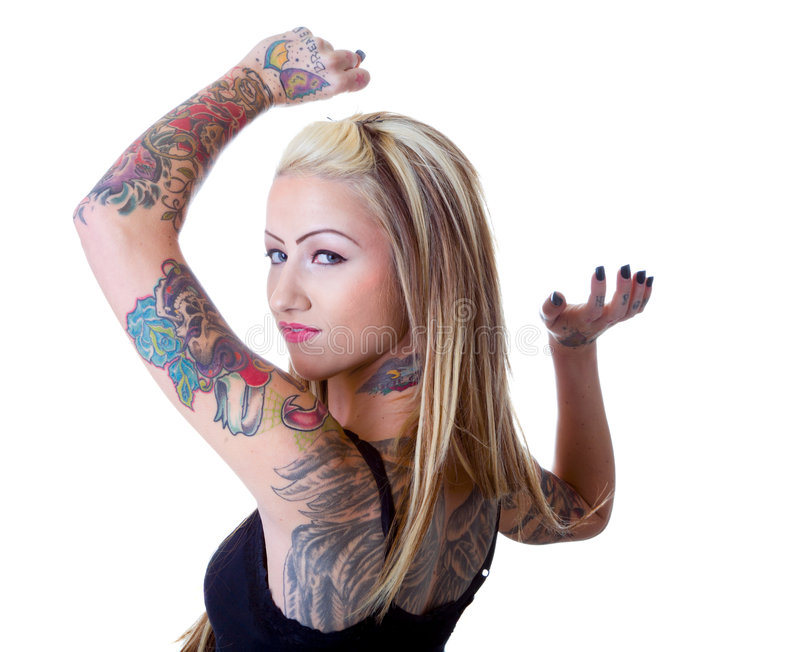 Wings Of A Tattoo Girl royalty free stock image