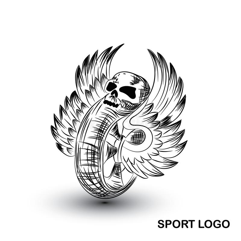 Wings and tire vector logo stock illustration