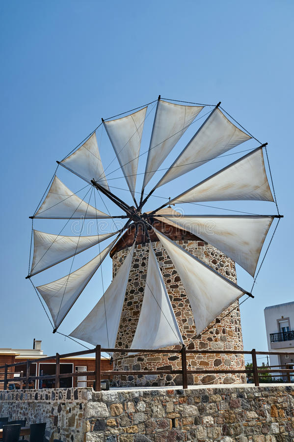 Wings of a traditional windmill. On the island of Kos in Greece royalty free stock photos