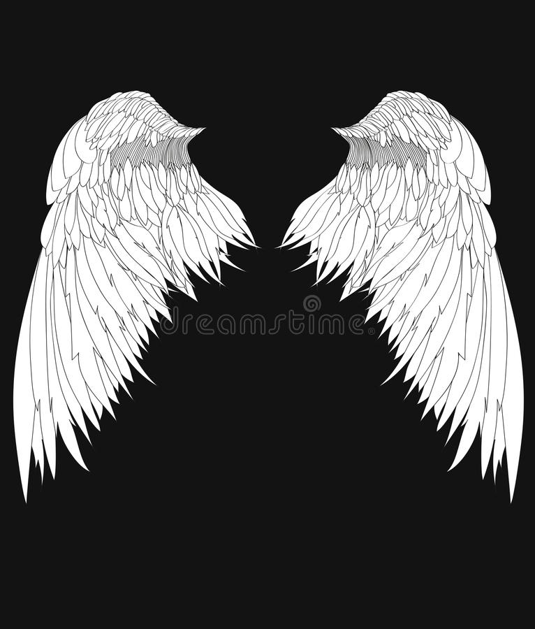 Wings. Vector illustration on black background. Black and white. Style stock illustration