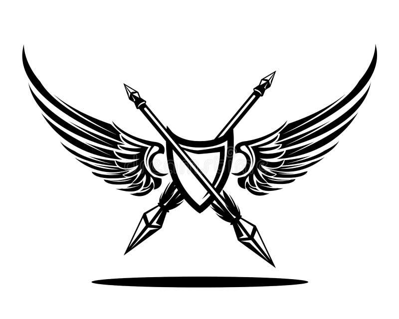 Wingshield odznaka z dwoistymi dzidami royalty ilustracja