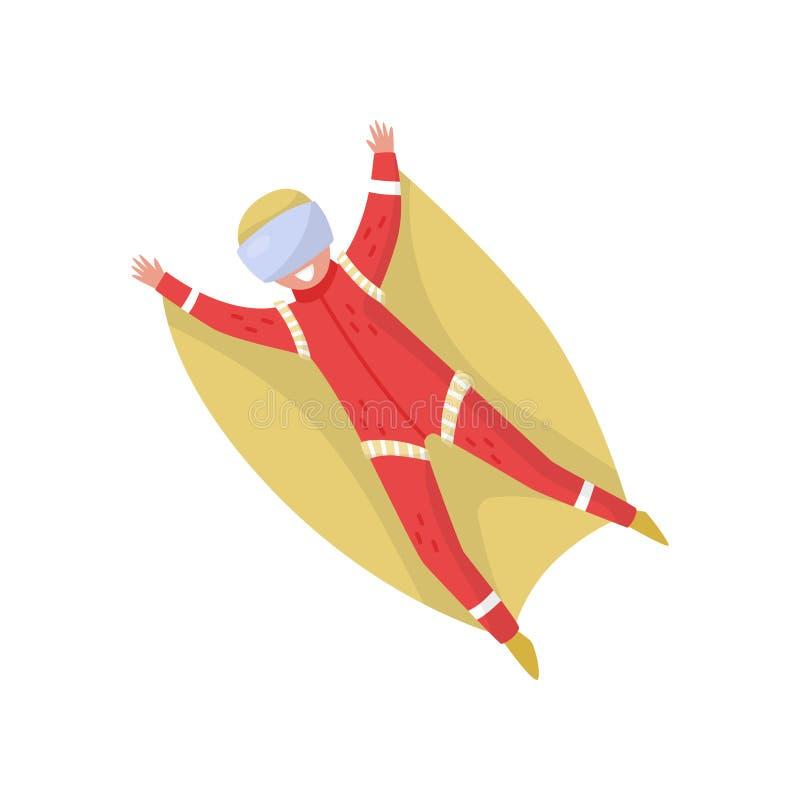 Wingsuit bluza w locie Aktywny odtwarzanie sport ekstremalny Młody szczęśliwy facet w ochronnych gogle Płaski wektorowy projekt royalty ilustracja