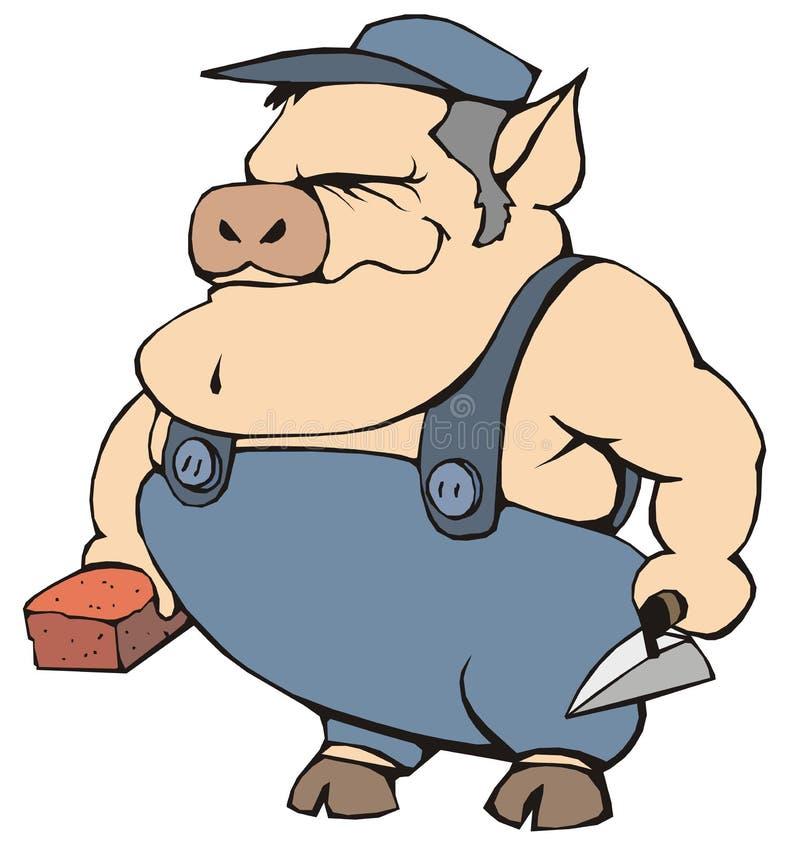 Download świnia ilustracja wektor. Obraz złożonej z torby, budowniczy - 8139434