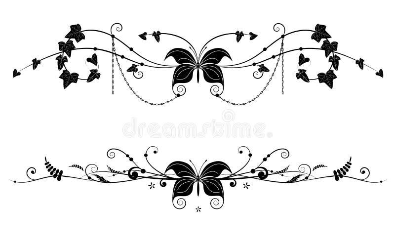 Winiety z motylem ilustracji