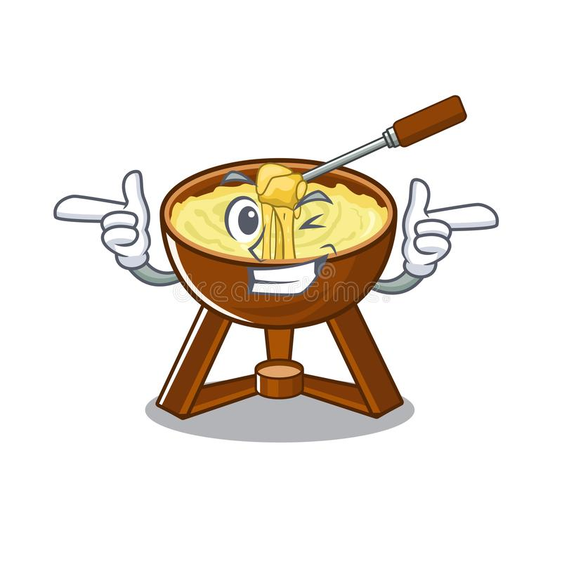 Wink cheese fondue with in mascot shape. Vector illustration stock illustration
