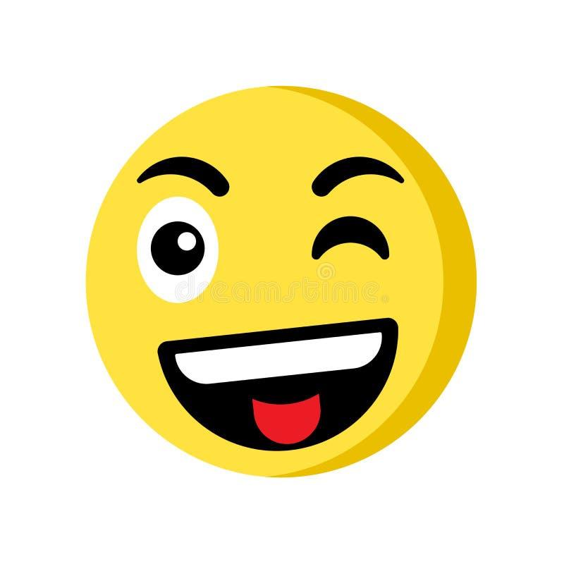 Wink emoji icon isolated on white background vector illustration