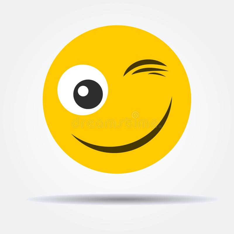 Wink emoticon in a flat design. royalty free stock photography